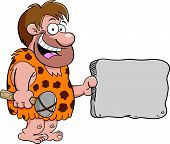stock photo of caveman  - Cartoon illustration of a caveman holding a sign - JPG