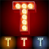 pic of letter t  - Vector illustration of realistic old lamp alphabet for light board - JPG