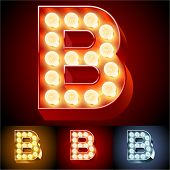stock photo of letter b  - Vector illustration of realistic old lamp alphabet for light board - JPG