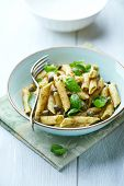Penne pasta with basil pesto