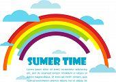 Постер, плакат: летнее время вектор с радуги и облака