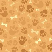 stock photo of footprint  - Dog theme seamless background 1  - JPG