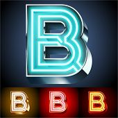 pic of letter b  - Vector illustration of realistic neon tube alphabet for light board - JPG