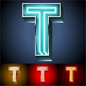 picture of letter t  - Vector illustration of realistic neon tube alphabet for light board - JPG