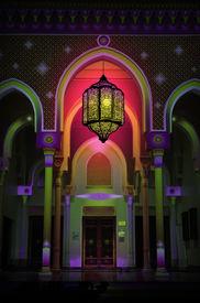 stock photo of ramazan mubarak  - Beautiful arch of the mosque and arabic lantern - JPG