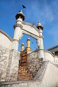 foto of mosk  - Mosque at blue sky in Kovalam Kerala India - JPG