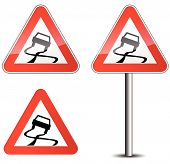 picture of slippery-roads  - Vector illustration of roadsign for slippery road - JPG