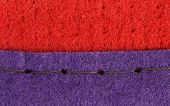 picture of rayon  - Join of red and blue fabric of artificial fibre - JPG