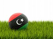 image of libya  - Football with flag of libya on green grass - JPG
