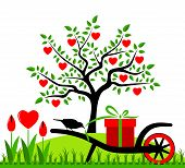 picture of hand-barrow  - vector heart tree - JPG
