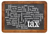 stock photo of paycheck  - cloud of words or tags related to paying taxes on a  vintage slate blackboard - JPG