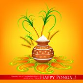 image of pongal  - illustration of Happy Pongal greeting background - JPG