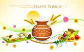 stock photo of rangoli  - illustration of Happy Pongal greeting background - JPG