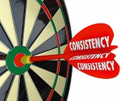 stock photo of persistence  - Consistency Dart Board Repeat Reliable Dependable Score Aim - JPG