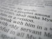 picture of bible verses  - Close up of a bible verse with the word vision in focus.