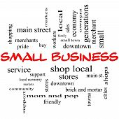 stock photo of local shop  - Small Business Word Cloud Concept in red caps with great terms such as shop local community support stores and more - JPG