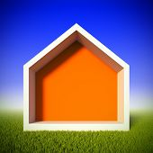 A 3d illustration concept of ecology house at green grass field. House shaped frame for insert anyth
