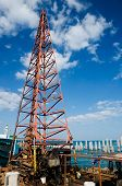 picture of derrick  - derrick barge piling rigs  for pier construction at Koh Samet rayong - JPG