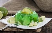 picture of jello  - Portion of homemade Lime Jello on a small plate  - JPG