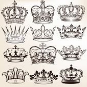 image of queen crown  - Vector set of crowns for your heraldic design - JPG