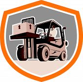stock photo of forklift driver  - Illustration of a forklift truck and driver at work lifting handling box crate done in retro style inside shield crest shape - JPG