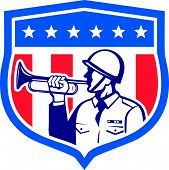 picture of military personnel  - Illustration of a soldier military police personnel blowing a bugle set inside crest shield with stars stripes done in retro style - JPG