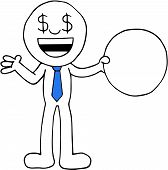 image of greedy  - Hand drawn cartoon dollar money eyes greedy businessman standing and holding blank circle - JPG
