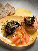 picture of sauteed  - Sandwich with smoked salmon and sauteed radish - JPG