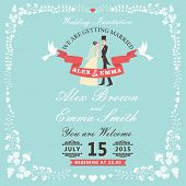 image of pigeon  - Wedding invitation design template - JPG
