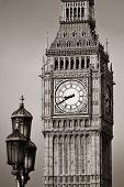 stock photo of lamp post  - Big Ben closeup in London with vintage lamp post - JPG