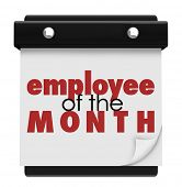 image of employee month  - Employee of the Month words recognizing the top performing worker - JPG