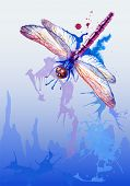 foto of dragonflies  - Vector vertical grunge background with beautiful watercolor flying violet dragonfly - JPG