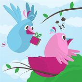 stock photo of mating animal  - Gift from a sweetheart as a sweet little blue bird flies in to his nest carrying a gift box in its beak to cheer up his pink female mate who is having a bad day with depression vector illustration - JPG
