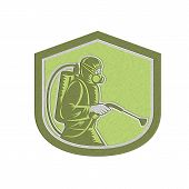 foto of pest control  - Metallic styled illustration of pest control exterminator spraying side view set inside shield crest on isolated background done in retro style - JPG