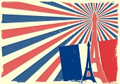 pic of freedom tower  - detailed illustration of the Eiffel Tower in front of a grungy patriotic backbround - JPG