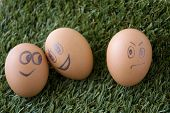 image of envy  - envy egg face with happy couple faces eggs - JPG