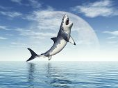 foto of great white shark  - Computer generated 3D illustration with a jumping Great White Shark - JPG