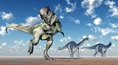 stock photo of apatosaurus  - Computer generated 3D illustration with the Dinosaurs Pachycephalosaurus and Apatosaurus - JPG
