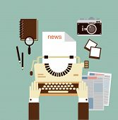 image of typewriter  - journalist publishes news on a typewriter   illustration - JPG