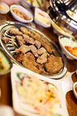 stock photo of kimchi  - Kimchi Korean cuisine barbecue grill meat and vegetables - JPG