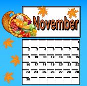 image of cornucopia  - illustration calendar for November with Thanksgiving and cornucopia - JPG