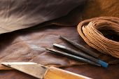 stock photo of leather tool  - Leather craft - JPG