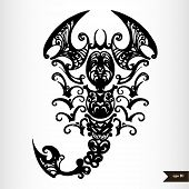 image of scorpio  - Zodiac signs black and white  - JPG