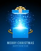 stock photo of merry  - Open gift and light fireworks christmas vector background - JPG