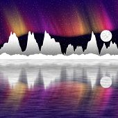 picture of south-pole  - illustration of snow mountains at night and mirror in the water north pole - JPG