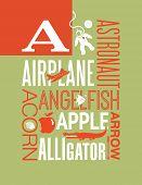 image of alligator baby  - Letter A words typography illustration alphabet poster design - JPG