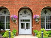 picture of city hall  - The face of City Hall decorated for Spring - JPG