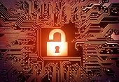 picture of cybercrime  - symbol of a hacked open red padlock on computer circuit board - JPG
