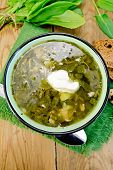 picture of sorrel  - Green soup of sorrel and spinach in a bowl with sour cream - JPG