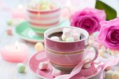 image of hot-chocolate  - Hot chocolate and marshmallow in a cup for Valentines day - JPG